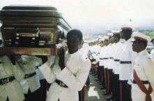 A national hero, Marleys' coffin is ranked by a military guard of honour